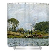 Boats At The Lock At Bougival Shower Curtain by Alfred Sisley