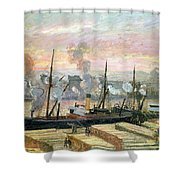 Boats Unloading Wood Shower Curtain by Camille Pissarro