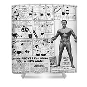Body-building Ad, 1962 Shower Curtain by Granger