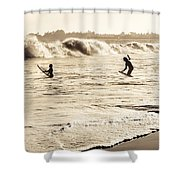 Body Surfing Family Shower Curtain by Marilyn Hunt