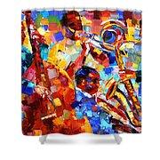 Bold Jazz Quartet Shower Curtain by Debra Hurd