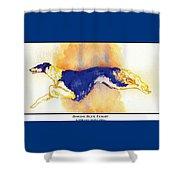Borzoi Blue Flight Shower Curtain by Kathleen Sepulveda