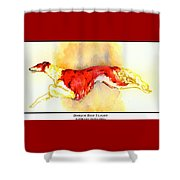 Borzoi Red Flight Shower Curtain by Kathleen Sepulveda