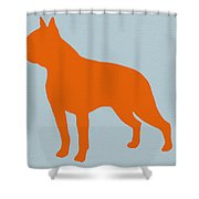 Boston Terrier Orange Shower Curtain by Naxart Studio