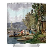 Bougival Shower Curtain by Emile-Edme Laborne
