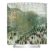 Boulevard Des Capucines Shower Curtain by Claude Monet
