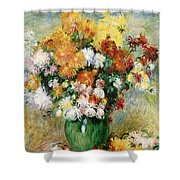 Bouquet Of Chrysanthemums Shower Curtain by Pierre Auguste Renoir