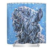 Bouvier Des Flandres Snow Shower Curtain by Lee Ann Shepard