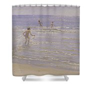 Boys Swimming Shower Curtain by Peder Severin Kroyer