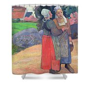 Breton Peasants Shower Curtain by Paul Gauguin