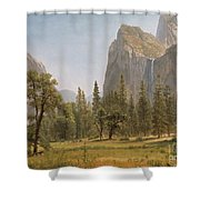 Bridal Veil Falls Yosemite Valley California Shower Curtain by Albert Bierstadt