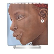 Brown Introspection Shower Curtain by Kaaria Mucherera