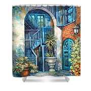 Brulatour Courtyard Shower Curtain by Dianne Parks