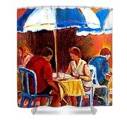 Brunch At The Ritz Shower Curtain by Carole Spandau