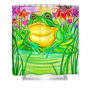 Bull Frog And The Moon Shower Curtain by Nick Gustafson