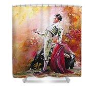 Bullfight 24 Shower Curtain by Miki De Goodaboom