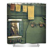 Burano - green house Shower Curtain by Joana Kruse