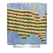 Burger Town Usa Map Shower Curtain by Andee Design