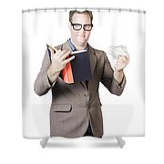 Businessman With Book And Crumpled Paper Shower Curtain by Ryan Jorgensen