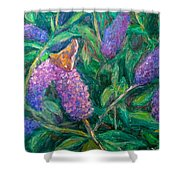 Butterfly View Shower Curtain by Kendall Kessler