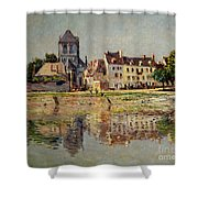 By The River At Vernon Shower Curtain by Claude Monet