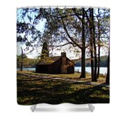 Cabin By The Lake Shower Curtain by Sandy Keeton
