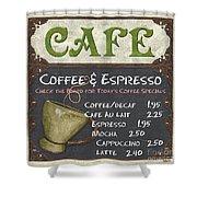 Cafe Chalkboard Shower Curtain by Debbie DeWitt