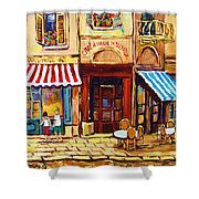 Cafe De Vieux Montreal With Couple Shower Curtain by Carole Spandau
