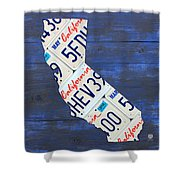 California License Plate Map On Blue Shower Curtain by Design Turnpike