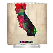 California Watercolor Map Shower Curtain by Naxart Studio