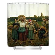 Calling in the Gleaners Shower Curtain by Jules Breton