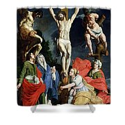 Calvary Shower Curtain by Abraham Janssens van Nuyssen