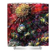 Cancer Cells Shower Curtain by Russell Kightley
