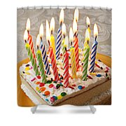 Candles On Birthday Cake Shower Curtain by Garry Gay