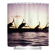 Canoe Race Shower Curtain by Bob Abraham - Printscapes