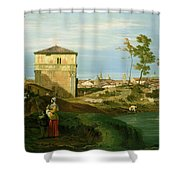 Capriccio With Motifs From Padua Shower Curtain by Canaletto