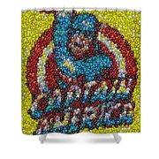 Captain America MM mosaic Shower Curtain by Paul Van Scott