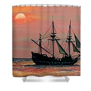 Caribbean Pirate Ship Shower Curtain by Susan DeLain