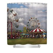 Carnival - Traveling Carnival Shower Curtain by Mike Savad