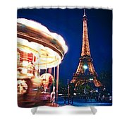 Carousel And Eiffel Tower Shower Curtain by Elena Elisseeva