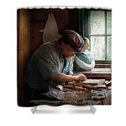 Carpenter - Carving The Figurehead  Shower Curtain by Mike Savad