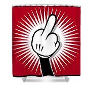 Cartoon Finger Shower Curtain by Tony Rubino