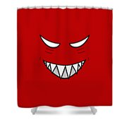 Cartoon Grinning Face With Evil Eyes Shower Curtain by Boriana Giormova