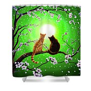 Cats On A Spring Night Shower Curtain by Laura Iverson