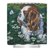Cavalier King Charles Spaniel With Butterfly Shower Curtain by Lee Ann Shepard