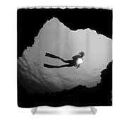 Cave Diver - Bw Shower Curtain by Dave Fleetham - Printscapes