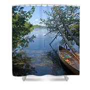 Cedar Strip Canoe And Cedars At Hanson Lake Shower Curtain by Larry Ricker