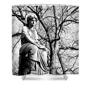Cemetary Statue B-w Shower Curtain by Anita Burgermeister