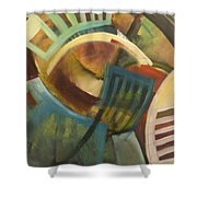 Chairs Around The Table Shower Curtain by Tim Nyberg