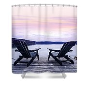 Chairs On Lake Dock Shower Curtain by Elena Elisseeva